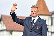 Harry Hall (GB&I) waves to the crowds during the Walker Cup Opening Ceremony, Friday at the Royal Liverpool Golf Club, Friday, Sept 6, 2019, in Hoylake, United Kingdom. (Steve Flynn/Image of Sport)