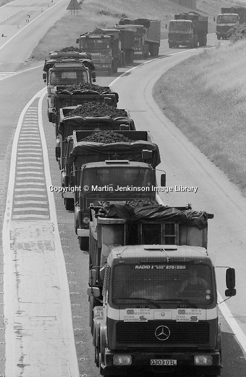 Coke convoy from Orgreave joining the M18. 1 August 1984
