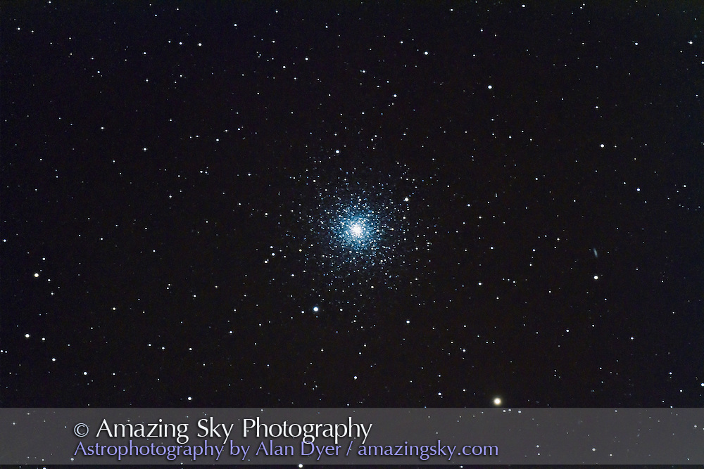 Messier 3 globular cluster in Canes Venatici taken July 30, 2011 from home with 130mm Astro-Physics refractor and Canon 7D camera, for stack of 2 x 5 minute exposures at ISO 800 and 2 x 5 minutes at ISO 1600 and f/6. Object was low in west.