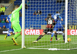 Cardiff City's Sean Morrison keeps Brighton and Hove Albion's Leon Best out of the Cardiff net - Photo mandatory by-line: Paul Knight/JMP - Mobile: 07966 386802 - 10/02/2015 - SPORT - Football - Cardiff - Cardiff City Stadium - Cardiff City v Brighton & Hove Albion - Sky Bet Championship
