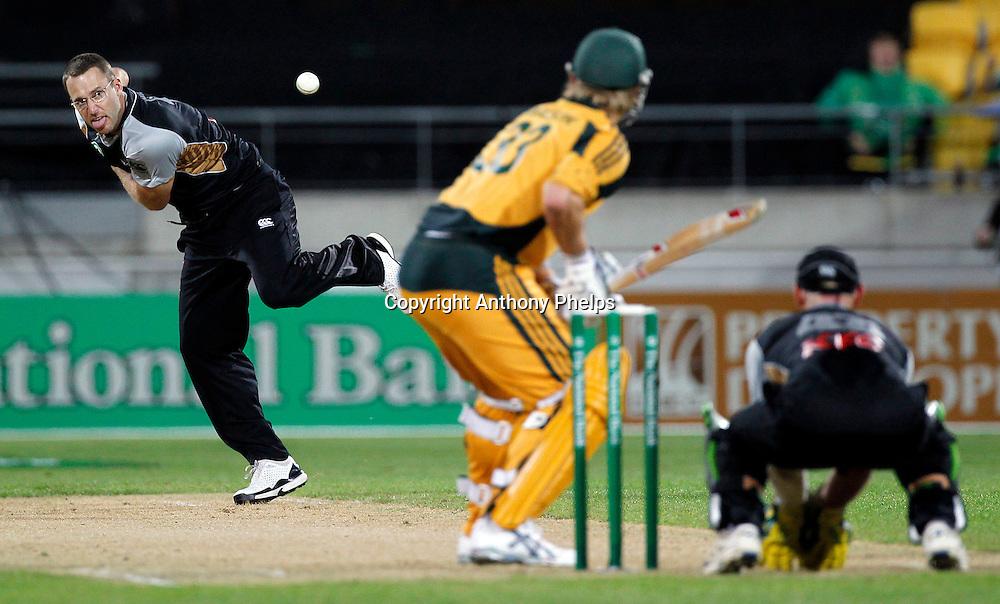 Daniel Vettori New Zealand v Australia Twenty20 cricket match. Westpac Stadium, Wellington. Friday 26 February 2010. Photo: Anthony Phelps/PHOTOSPORT