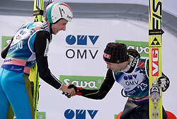 Winner AMMANN Simon, RG Churfirsten, SUI  and third placed JACOBSEN Anders, Ringkollen Skiklubb, NOR celebrate after the Flying Hill Individual Race at 3rd day of FIS Ski Flying World Championships Planica 2010, on March 20, 2010, Planica, Slovenia.  (Photo by Vid Ponikvar / Sportida)