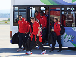 LIVERPOOL, ENGLAND - Monday, May 16, 2016: Liverpool's Emre Can, James Milner and Joe Allen and the squad board their plane to Basel as they fly out of Liverpool John Lennon Airport to Switzerland ahead of the UEFA Europa League Final against Sevilla FC. (Pic by David Rawcliffe/Propaganda)