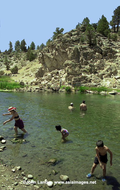 Hot Creek, starting as Mammoth Creek, is a stream in Mono County of eastern California within the Inyo National Forest. Hot Creek Gorge was a filming location in the 1969 film True Grit, as well as the 1960 film North to Alaska also starring John Wayne, the 1966 Steve McQueen film Nevada Smith and the 1971 film Shoot Out with Gregory Peck.
