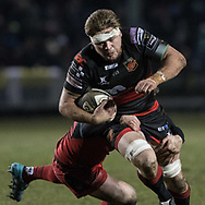 Lewis Evans of the Dragons is tackled by Edinburghs' Bill Mata.<br /> <br /> Photographer Simon Latham/Replay Images<br /> <br /> Guinness PRO14 - Dragons v Edinburgh - Friday 23rd February 2018 - Eugene Cross Park - Ebbw Vale<br /> <br /> World Copyright &copy; Replay Images . All rights reserved. info@replayimages.co.uk - http://replayimages.co.uk