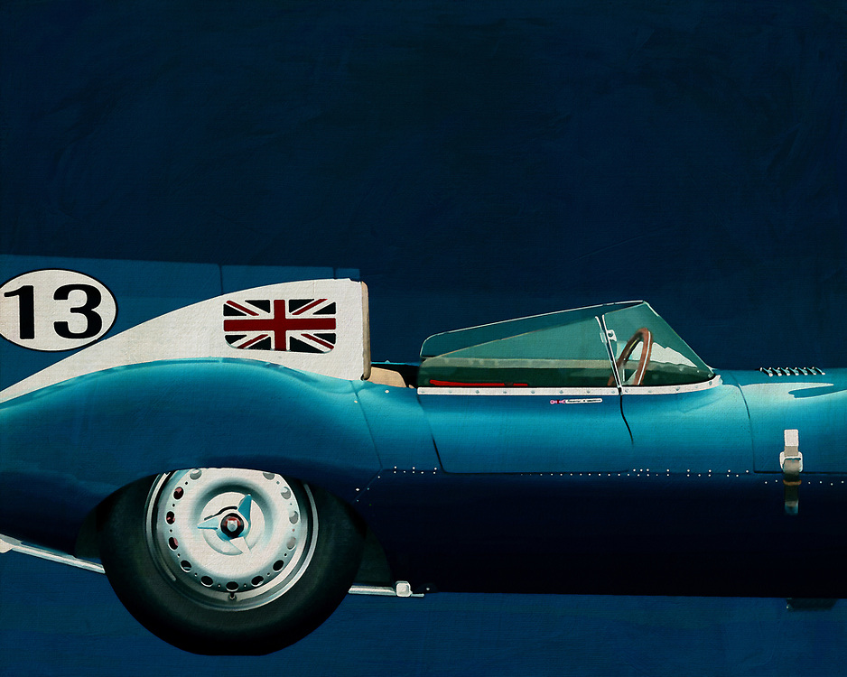 Jaguar Type D 1956 <br /> Like its predecessor Jaguar C-Type, the Jaguar D-Type is a factory-built racing car. The Jaguar D-Type had a straight-XK engine design. At the beginning it was a 3.4 engine, later also a 3.8, together with the C-Type a revolutionary car in terms of aerodynamics and monocoque chassis. The D-Type was produced purely for motorsport, but after Jaguar stopped building the car for motorsport, the company offered the unfinished chassis as the public-road version of the JaguarXKSS. These cars were given a number of modifications such as a passenger seat, a second door, a full windscreen and a roof. But on 12 February 1957 a fire broke out on Browns Lane plant. The fire destroyed nine of 25 cars that were already finished or almost finished. – -<br /> <br /> BUY THIS PRINT AT<br /> <br /> FINE ART AMERICA<br /> ENGLISH<br /> https://janke.pixels.com/featured/jaguar-type-d-1956-side-jan-keteleer.html<br /> <br /> WADM / OH MY PRINTS<br /> DUTCH / FRENCH / GERMAN<br /> https://www.werkaandemuur.nl/nl/shopwerk/Jaguar-Type-D-1956-Rechterkantdeel/571943/132