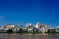 A view over the small city of Chau Doc in the Mekong Delta in southern Vietnam.