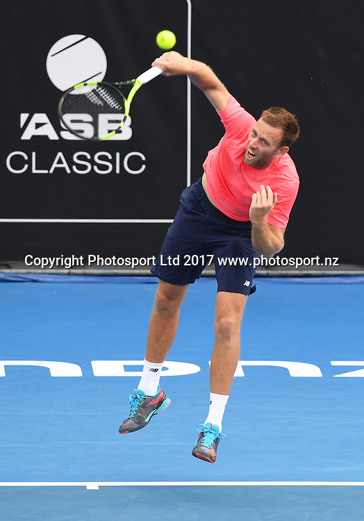 New Zealand's Michael Venus in action during his first round singles match on opening day at the ASB Classic. ATP Mens Tennis Tournament. ASB Tennis Centre, Auckland, New Zealand. Monday 9 January 2017. © Copyright photo: Andrew Cornaga / www.photosport.nz