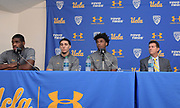 Nov 15, 2017; Los Angeles, CA, USA; UCLA Bruins forward Cody Riley(left), guard LiAngelo Ball (second from left), forward Jalen Hill and coach Steve Alford read statements during a press conference at Pauley Pavilion regarding arrest of the Hill, Ball and Riley in China for shoplifting.