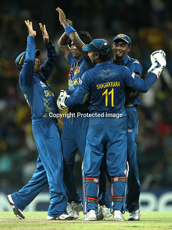 Angelo Matthews celebrates the wicket of Mohammad Hafeez during the ICC World Twenty20 semi final match between Sri Lanka and Pakistan held at the Premadasa Stadium in Colombo, Sri Lanka on the 4th October 2012<br /> <br /> Photo by Ron Gaunt/SPORTZPICS