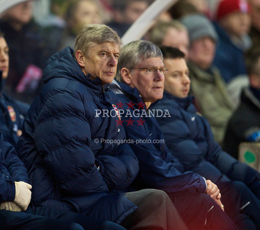STOKE-ON-TRENT, ENGLAND - Saturday, February 27, 2010: Arsenal's manager Arsene Wenger during the FA Premier League match against Stoke City at the Britannia Stadium. (Photo by David Rawcliffe/Propaganda)
