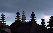 INDONESIA:  Bali.<br /> Besakih Temple rooftops and pagodas of straw.This is the most important temple on the island.