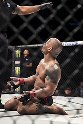 September 16, 2017 - Pittsburgh, Pennsylvania, USA - September 16, 2017: Hector Lombard looks at the referee after losing by TKO during UFC Fight Night at PPG Paints Arena in Pittsburgh, Pennsylvania. (Credit Image: © Scott Taetsch via ZUMA Wire)