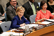 Hillary Rodham Clinton, Secretary of State of the United States of America and President of the Security Council for September, addresses the Security Council. The Council unanimously adopted resolution 1888 (2009), reiterating its demand for the immediate and complete cessation of acts of sexual violence in situations of armed conflict.