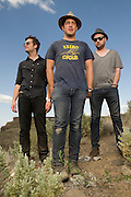 Description/Caption:<br /> George, WA. - May 27th, 2012 (From left) Eric Sanderson, Billy McCarthy and Rob Allen of We Are Augustines pose for a portrait backstage at the Sasquatch Music Festival in George, WA. United States