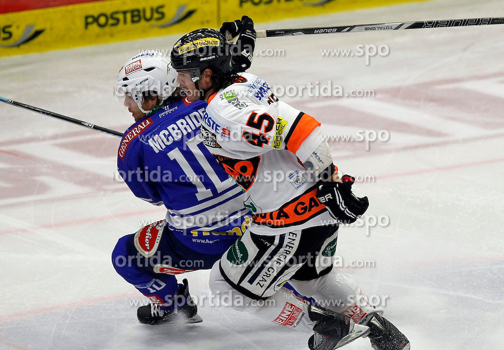 27.10..2013, Stadthalle, Villach, AUT, EBEL, EC VSV vs Moser Medical Graz99ers, 28. Runde, im Bild Brock McBride (VSV,#10) und Alexandre Picard (Graz99ers,#45) // during the Erste Bank Icehockey League 28th round between EC VSV vs Moser Medical Graz99ers, at the City Hall, Villach, Austria, 2013/10/27, EXPA Pictures © 2013, PhotoCredit: EXPA/ Oskar Hoeher