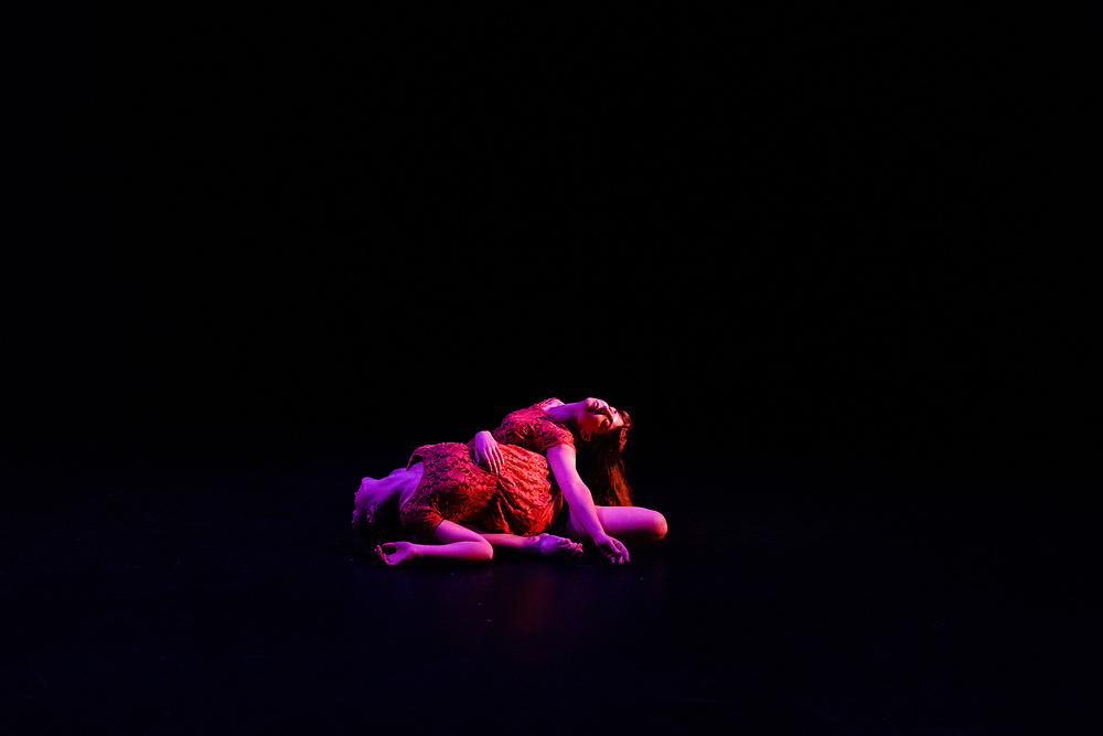 Tech rehearsal of Baltimore modern dance company The Collective's annual concert &quot;Senses&quot; at the Baltimore Theatre Project April 17, 2018. <br /> &quot;Sunday Morning,&quot; choreography by Samantha Hopkins and Kelly Hall featuring Natalie Boegel, and Adrienne Kraus Latanishen<br /> <br /> <br /> CREDIT: Matt Roth