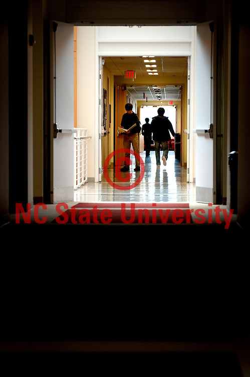 Engineering students walk the halls of Engineering Building II on Centennial Campus. NCSU/Photo by Becky Kirkland.