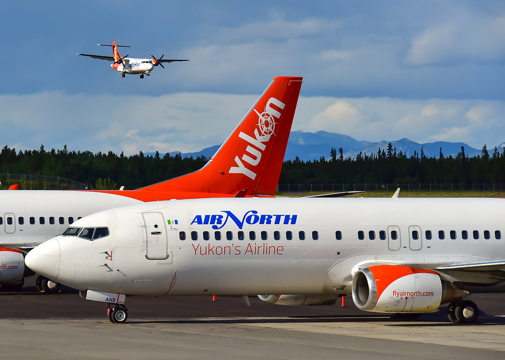 An Air North, Yukon's Airline ATR 42 returns from an afternoon flight to Dawson City.