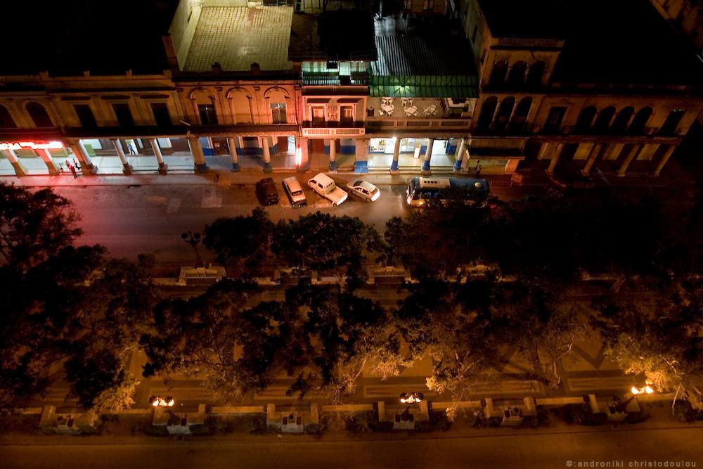 Night view of Paceo de Marti street in Havana - CUBA