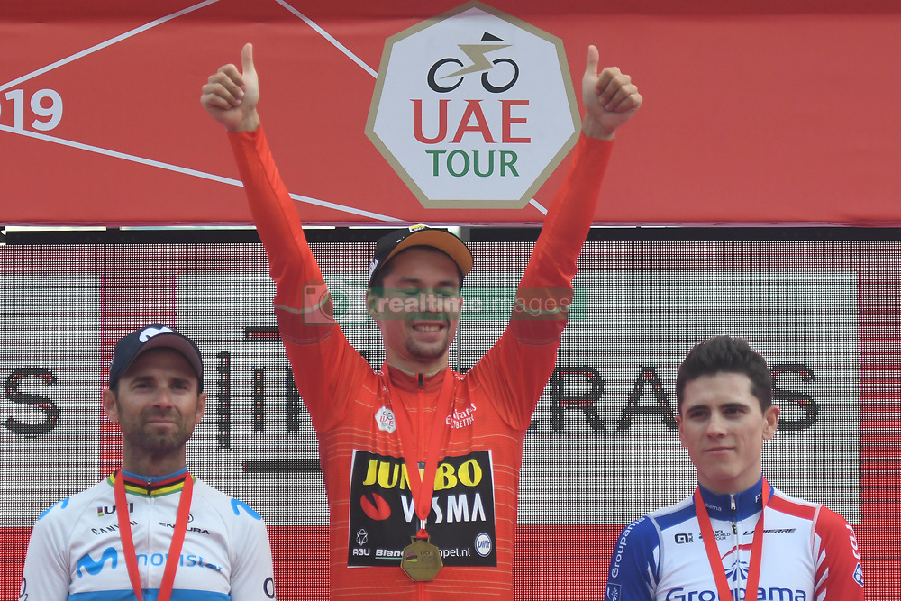 March 2, 2019 - Dubai, United Arab Emirates - Primoz Roglic (Center) of Slovenia and Team Jumbo - Visma wins the inaugural UAE Tour 2019. .Spain's Alejandro Valverde (Left) of Team Movistar takes the 2nd place, and France's David Gaudu (Right) of Groupama - FDJ Team takes the 3rd place..On Saturday, March 2, 2019, in Dubai Safari Park, Dubai Emirate, United Arab Emirates. (Credit Image: © Artur Widak/NurPhoto via ZUMA Press)