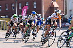 Gracie Elvin (Orica AIS) and Floortje Mackaij (Liv Plantur) in the front group with one lap to go - Energiewacht Tour 2016 - Stage 5 Borkum, Germany.