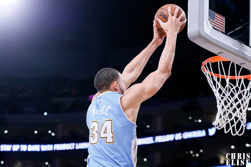 10 February 2015: Denver Nuggets center JaVale McGee (34) goes for the dunk during the Denver Nuggets 106-96 victory over the Los Angeles Lakers, at the Staples Center, Los Angeles, California, USA.