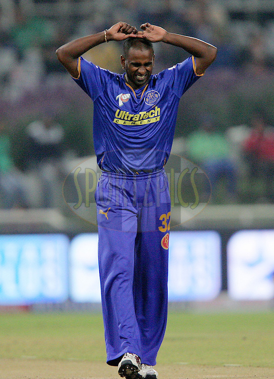 CAPE TOWN, SOUTH AFRICA - 23 April 2009. Dimitri mascarenhas shows his frustration  during the  IPL Season 2 match between the Kolkata Knight Riders and the Rajasthan Royals held at Sahara Park Newlands in Cape Town, South Africa..