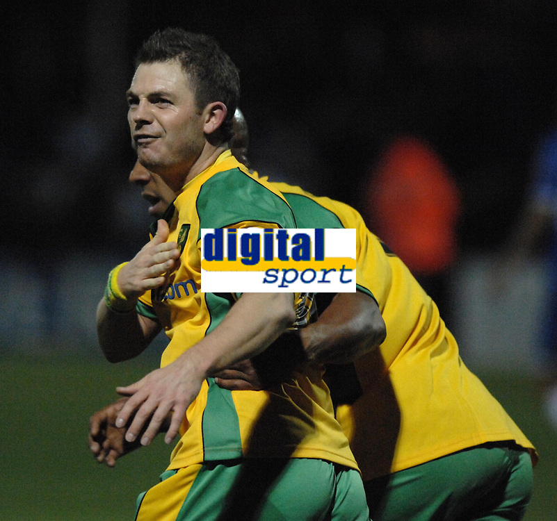 Photo: Ashley Pickering/Sportsbeat Images.<br /> Colchester United v Norwich City. Coca Cola Championship. 15/12/2007.<br /> Jamie Cureton of Norwich is dragged away from the Colchester fans by Dion Dublin after his goal celebrations go a little too far
