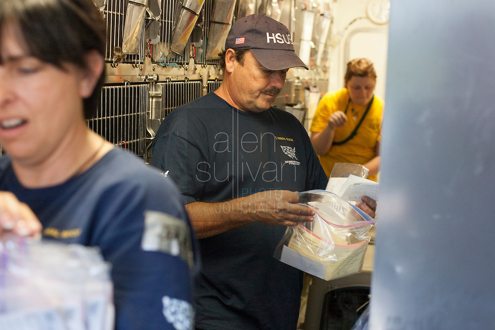 Perry Stone, HSUS driver and responder, sorts paperwork in a transport rig after a raid on a puppy mill in Johnston, SC on Tuesday, Sept. 11, 2012. HSUS workers found over 200 dogs, nine horses and 30-40 fowl.