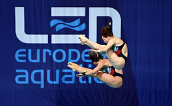 Italy's Noemi Batki and Chiara Pellacani during the Women's Synchronised 10m Platform Final  during day six of the 2018 European Championships at Scotstoun Sports Campus, Glasgow. PRESS ASSOCIATION Photo. Picture date: Tuesday August 7, 2018. See PA story DIVING European. Photo credit should read: Ian Rutherford/PA Wire. RESTRICTIONS: Editorial use only, no commercial use without prior permission