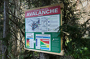 Avalanche warning sign at start of Marriott Basin trail, Coast Mountains British Columbia