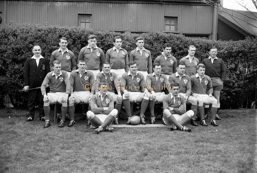 Irish Rugby Football Union, Ireland v France, Five Nations, Landsdowne Road, Dublin, Ireland, Saturday 15th April, 1967,.15.4.1967, 4.15.1967,..Referee- R P Burrell, Scottish Rugby Union, ..Score- Ireland 6- 11 France, ..Irish Team, ..T J Kiernan,  Wearing number 15 Irish jersey, Full Back, Cork Constitution Rugby Football Club, Cork, Ireland,..R D Scott, Wearing number 14 Irish jersey, Right Wing, Queens University Rugby Football Club, Belfast, Northern Ireland, ..F P K Bresnihan, Wearing number 13 Irish jersey, Right Centre, University College Dublin Rugby Football Club, Dublin, Ireland, ..J C Walsh,  Wearing number 12 Irish jersey, Left Centre, Sundays Well Rugby Football Club, Cork, Ireland, ..N H Brophy, Wearing number 11 Irish jersey, Left wing, Blackrock College Rugby Football Club, Dublin, Ireland, ..C M H Gibson, Wearing number 10 Irish jersey, Stand Off, N.I.F.C, Rugby Football Club, Belfast, Northern Ireland, ..R M Young, Wearing number 9 Irish jersey, Scrum Half, Queens University Rugby Football Club, Belfast, Northern Ireland,..K G Goodall, Wearing number 8 Irish jersey, Forward, Newcastle University Rugby Football Club, Newcastle, England, ..M G Doyle, Wearing number 7 Irish jersey, Forward, Edinburgh Wanderers Rugby Football Club, Edinburgh, Scotland, ..N A Murphy, Wearing number 6 Irish jersey, Captain of the Irish team, Forward, Cork Constitution Rugby Football Club, Cork, Ireland,..M G Molloy, Wearing number 5 Irish jersey, Forward, University College Galway Rugby Football Club, Galway, Ireland,  ..W J McBride, Wearing number 4 Irish jersey, Forward, Ballymena Rugby Football Club, Antrim, Northern Ireland,..S A Hutton, Wearing number 3 Irish jersey, Forward, Malone Rugby Football Club, Belfast, Northern Ireland, ..K W Kennedy, Wearing number 2 Irish jersey, Forward, C I Y M S Rugby Football Club, Belfast, Northern Ireland, ..S MacHale, Wearing number 1 Irish jersey, Forward, Landsdowne Rugby Football Club, Dublin, Ireland, ..
