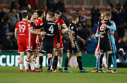 Players shake hands at full time during the EFL Sky Bet Championship match between Middlesbrough and Leeds United at the Riverside Stadium, Middlesbrough, England on 2 March 2018. Picture by Paul Thompson.