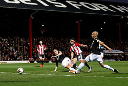 Nico Yennaris of Brentford scores the opening goal - Mandatory by-line: Robbie Stephenson/JMP - 05/04/2016 - FOOTBALL - Griffin Park - Brentford, England - Brentford v Bolton Wanderers - Sky Bet Championship
