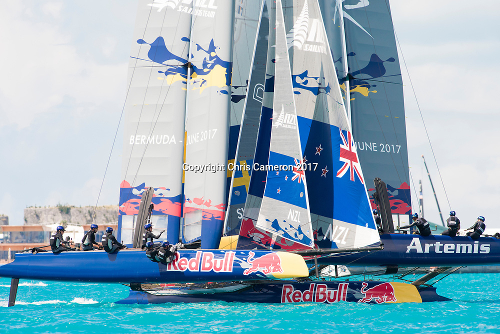 The Great Sound, Bermuda, 20th June 2017, Red Bull Youth America's Cup Finals. Race three, NZL Sailing Team and Artemis Youth Racing (SWE).
