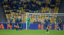 KIEV, UKRAINE - Easter Monday, March 28, 2016: Wales' goalkeeper Wayne Hennessey looks dejected as Ukraine score the opening goal during the International Friendly match at the NSK Olimpiyskyi Stadium. (Pic by David Rawcliffe/Propaganda)