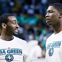 07 April 2013: Washington Wizards point guard John Wall (2) talks to Washington Wizards power forward Kevin Seraphin (13) prior to the Boston Celtics 107-96 victory over the Washington Wizards at the TD Garden, Boston, Massachusetts, USA.