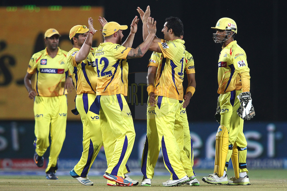 Mohit Sharma of The Chennai Super Kings is congratulated for bowling Kevin Pietersen captain of the Delhi Daredevils during match 26 of the Pepsi Indian Premier League Season 2014 between the Delhi Daredevils and the Chennai Super Kings held at the Feroze Shah Kotla cricket stadium, Delhi, India on the 5th May  2014<br /> <br /> Photo by Shaun Roy / IPL / SPORTZPICS<br /> <br /> <br /> <br /> Image use subject to terms and conditions which can be found here:  http://sportzpics.photoshelter.com/gallery/Pepsi-IPL-Image-terms-and-conditions/G00004VW1IVJ.gB0/C0000TScjhBM6ikg