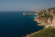 High point view of cliffs at Cabo La Nao. Javea, Alicante province, Costa Blanca, Spain, Europe.