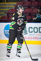 KELOWNA, CANADA - JANUARY 26: Davis Vandane #24 of the Prince Albert Raiders skates on the ice during warm up at the Kelowna Rockets on January 26, 2013 at Prospera Place in Kelowna, British Columbia, Canada (Photo by Marissa Baecker/Shoot the Breeze) *** Local Caption ***