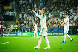 Sergio Ramos of Real Madrid reacts during the UEFA Champions League final football match between Liverpool and Real Madrid at the Olympic Stadium in Kiev, Ukraine on May 26, 2018.Photo by Sandi Fiser / Sportida