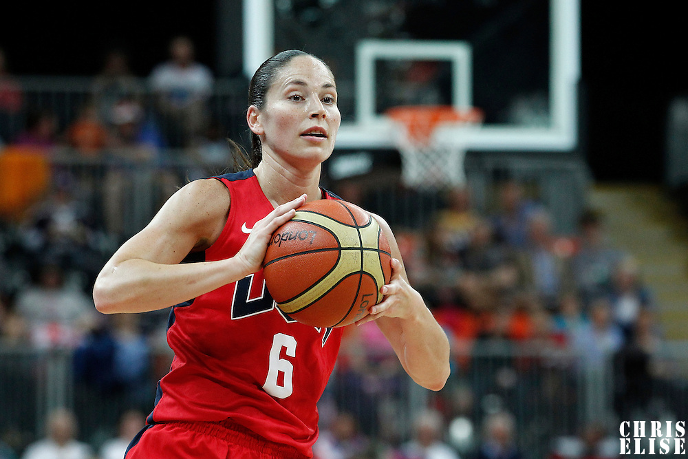 05 August 2012: USA Sue Bird passes the ball during 114-66 Team USA victory over Team China, during the women's basketball preliminary, at the Basketball Arena, in London, Great Britain.