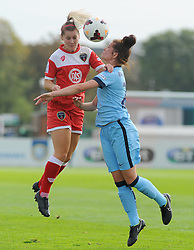Bristol Academy Womens' Nicola Watts  challenges for the ball in mid-air. - Photo mandatory by-line: Nizaam Jones- Mobile: 07583 387221 - 28/09/2014 - SPORT - Women's Football - Bristol - SGS Wise Campus - BAWFC v Man City Ladies - sport