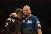 Raymond van Barneveld defeats Stephen Bunting in the Raymond van Barneveld v Stephen Bunting match  at the Betway Premier League Darts,  Brighton Centre, Brighton & Hove, United Kingdom on 14 May 2015. Photo by Phil Duncan.