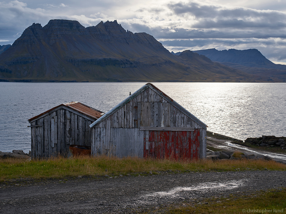 Fising hut at Gjögur fishing village in Árneshreppur, Strandir area in Northwest Iceland.