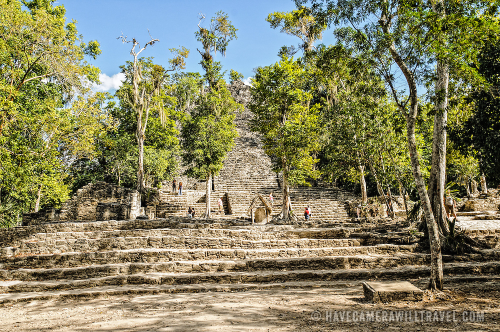 The temple structure of La Iglesia at Coba, an expansive Mayan site on Mexico's Yucatan Peninsula not far from the more famous Tulum ruins. Nestled between two lakes, Coba is estimated to have been home to at least 50,000 residents at its pre-Colombian peak.