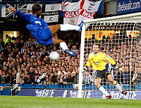 Photo: Ed Godden.<br /> Chelsea v Newcastle United. The FA Cup. 22/03/2006.<br /> Chelsea's Didier Drogba attempts a spectacular shot.