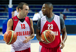Asen Velikov and Earl Rowland at practice session of Bularian National basketball team 1 day before Eurobasket Lithuania 2011, on August 29, 2011, in Arena Svyturio, Klaipeda, Lithuania. (Photo by Vid Ponikvar / Sportida)