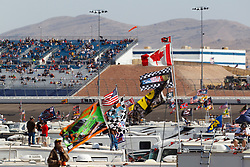 Mar 11, 2012; Las Vegas, NV, USA;  General view of Sprint Cup Series fans flying flags in the infield during the Kobalt Tools 400 at Las Vegas Motor Speedway. Mandatory Credit: Jason O. Watson-US PRESSWIRE